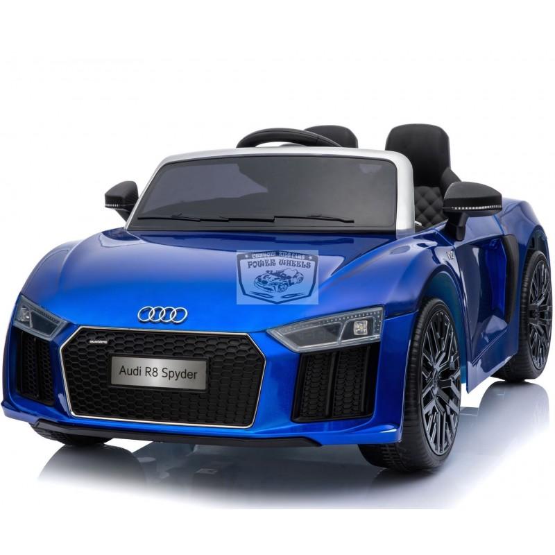 Audi R8 Spyder elektrische kinderauto 12V 2.4G metallic blauw
