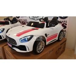 CUSTOM MERCEDES AMG GT-R ELEKTRISCHE KINDERAUTO 12V 2.4G WIT ROZE