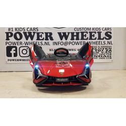 Lamborghini Sian elektrische kinderauto metallic rood 12V 2.4G