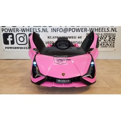 Lamborghini Sian elektrische kinderauto roze 12V 2.4G